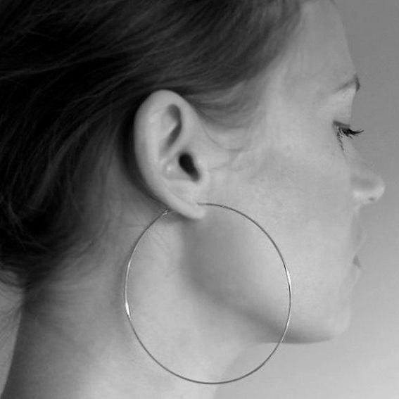 Sterling Silver Large Hoop Earrings - Modern Hoops - Elegant Earrings for Women - 3 inch Silver Hoops